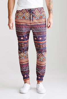 21 MEN Tribal Print Drawstring Joggers