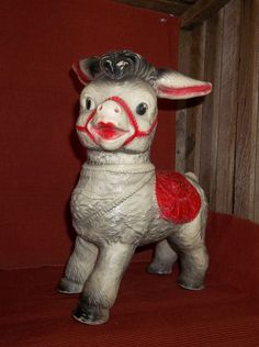 Vintage Squeaky toy DONKEY Sun Rubber Co. carnival prize c.1950 CLEAN, BRIGHT!