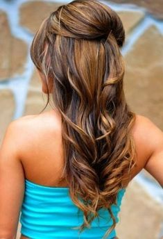 wedding day bridal hair - half up/half down with small poof/bouffant/beehive and loose defined curls