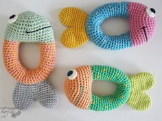 Fish Baby Rattle - - - - - - - - - - - - - Make this cute and easy-to-make fish baby rattle and make your baby happy :D The pattern is easy to follow and has a simple layout. . . . . . . . . . . This is only crochet appliqué pattern, NOT a finished product. . If you dont crochet and