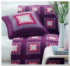 Crochet: blanket and pillows.