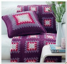 Crochet: blanket and pillows.
