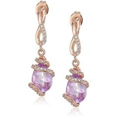 Rose Gold Plated Sterling Silver Pear Shaped Pink Amethyst 10x7x5.5mm... ($40) ❤ liked on Polyvore featuring jewelry, earrings, amethyst drop earrings, white sapphire earrings, sterling silver jewelry, dangle earrings and drop dangle earrings