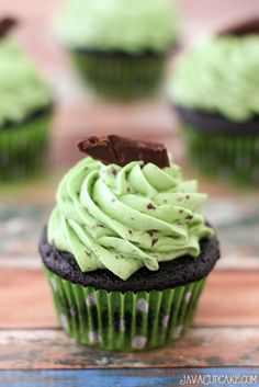 Chocolate Chip Mint Cupcakes | JavaCupcake.com #cupcakes #cupcakeideas #cupcakerecipes #food #yummy #sweet #delicious #cupcake