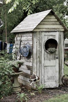 Quaint Rustic Garden Shed - Rocky Hedge Farm - Small Rustic White Garden Shed Painted Garden Sheds, Cottage Garden Sheds, Farmhouse Garden, Garden Junk, Garden Tools, Farmhouse Style, Rustic Gardens, White Gardens, Outdoor Gardens