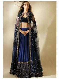 Royal Blue Lehenga Choli With Net Jacket For Reception India Fashion, Asian Fashion, Look Fashion, Party Fashion, Bridal Lehenga, Lehenga Choli, Cape Lehenga, Indian Lehenga, Long Jacket Lehenga