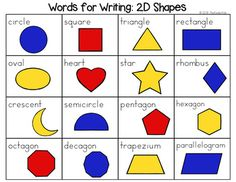 Shapes Word List - Writing Center Get the Growing BUNDLE! There are 16 vocabulary words in landscape format, which are in color or black and white. Kindergarten Math Activities, Math Resources, Classroom Resources, Preschool, Writing Lists, Writing Prompts, Elementary Teacher, Elementary Schools, Creative Teaching