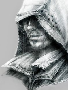 Ezio Auditore_in hood by *JustAnoR on deviantART