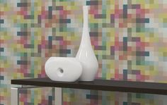 Pixel Graphic by Carnegie.  A Cradle to Cradle Silver Certified wallcovering made from Xorel, a high performance textile woven from durable polyethelene yarns.  Available in three colorways.