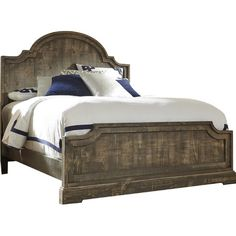 Anchor your master suite or guest room in rustic style with this stylish wood headboard, featuring a curved silhouette and weathered finish.Fe...