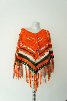 Crochet Poncho Women poncho crochet shawl Coat Jacket by Urbe