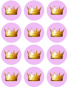 Pink with Gold Crown | Baby Shower | Princess | Edible Image | Cupcake Toppers | Shore Cake Supply