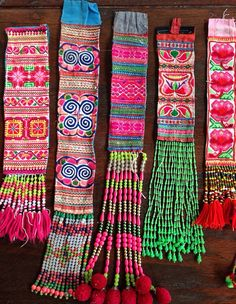 Vintage Hmong Fabric belts x 8assorted Ethnic Embroidered Tribal craft supplies