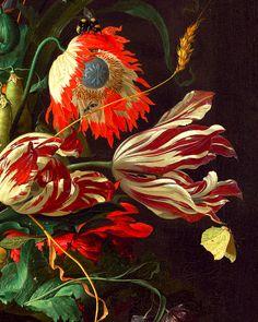 Jan Davidsz de Heem - Vase of Flowers – detail, 1660 courtesy Botanical Drawings, Botanical Illustration, Botanical Prints, Art Floral, Impressions Botaniques, Illustration Botanique, Classical Art, Aesthetic Art, Flower Art