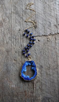 Gold Edged Royal Blue Druzy Stone Necklace with by JESDesignStudio