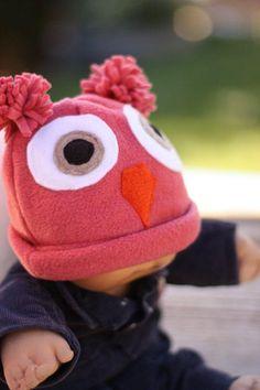 Cute Pink Owl Fleece baby Hat by MarzWear on Etsy, $15.00