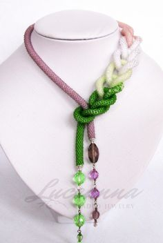 Bead crochet necklace. Lovely:)