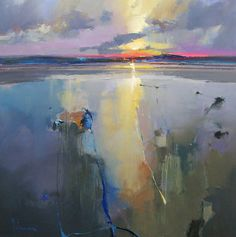 Holkham Beach, Sunset 36 x 36, oil | Peter Wileman