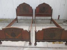Antique American Gothic Twin Beds W Wood Rails Repurpose Shabby Bench Materials