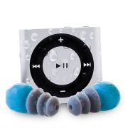 Waterproofed iPod Shuffle Swim Kit with Short Cord Headphones (they also sell waterproofed Kindle- want)