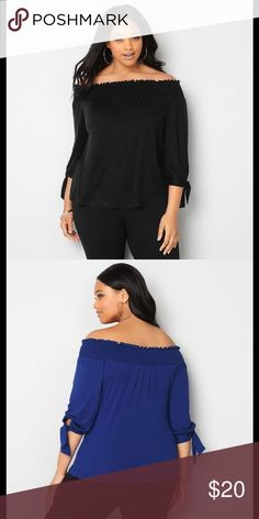 🏖 Avenue Off the Shoulder Tie Sleeve Top Black The smocked elastic neckline of this pretty top makes it easy to wear it on or off the shoulder. Tie detail at the sleeves adds a little something extra to make this top pop!  • Rayon/spandex. Machine wash. Imported.  • Approx. 23 inches long at the front; approx. 21 1/2 inches long at the back. All Black Avenue Tops Blouses
