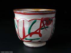 濱田庄司 琉球窯面取赤絵茶碗