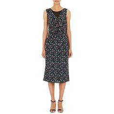 Nina Ricci Women's Chiffon-Layered Floral-Print Dress ($1,319) ❤ liked on Polyvore featuring dresses, black, layered dress, flower print dress, asymmetrical dress, v-neck dresses and floral peplum dress