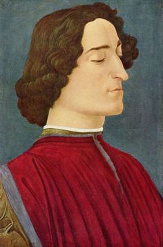 Sandro Botticelli.  Porträt des Giuliano de' Medici. Um 1478, Tempera auf Holz, 54 × 36 cm. Berlin, Gemäldegalerie. Wahrscheinlich Arbeit der Botticelli- Werkstatt. Italien. Renaissance.  KO 02479