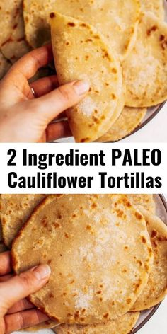 Two ingredient paleo cauliflower tortillas! Life-changing recipe for low calorie gluten free tortillas, ready in minutes! These tortillas have 42 calories and are loaded with veggies to keep you healthy and satisfied. Delicious, easy, and mind-blowin Tortillas Sans Gluten, Cauliflower Tortillas, Keto Cauliflower, Cauliflower Mashed Potatoes, Keto Tortillas, Healthy Cauliflower Recipes, Low Carb Recipes, Whole Food Recipes, Vegan Recipes