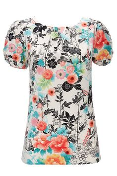 White And Red Floral Short Sleeve Top
