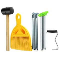 Flexzion Tent Tool Kit Set Assembly - Sports Outdoor Camping Hiking Accessories with Rubber Mallet, Broom Dustpan, Peg Extractor, Tent Stakes, Mesh Bag for Camper Hunting Household Picnic Repair Camping Humor, Tent Camping, Outdoor Camping, Kitchen Tent, Camping Kitchen, Funny Camping Pictures, Buy Tent, Hiking Accessories, Broom And Dustpan