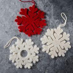 Felt Snowflake Ornaments (Set of 4) | west elm
