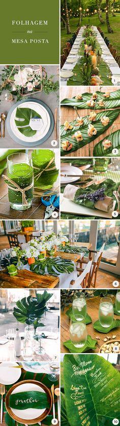 10 ideias para usar folhagem na mesa posta