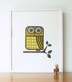 roddy the owl screenprint in grey and olive by roddyandginger, $40.00