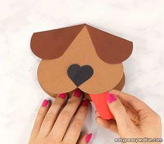 Heart Dog Craft - DIY Valentine's Day Card Idea - Easy Peasy and Fun Valentine's Day Crafts For Kids, Valentine Crafts For Kids, Dog Crafts, Projects For Kids, Diy Cards With Hearts, Diy Valentines Cards, Valentine's Cards For Kids, Heart For Kids, Valentine's Day Diy