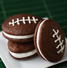 Need a dessert for your viewing party? These Whoopie Footballs are perfect! Don't forget to print out the template for easy baking. http://www.hy-vee.com/webres/File/Football_Whoopie_Pie_Templates.pdf
