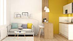 Salon et cuisine scandinave coloris blanc jaune et bois