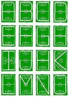 16 cards of a 26 series soccerfield-tradingcard alphabet, made for Marian Hanou.