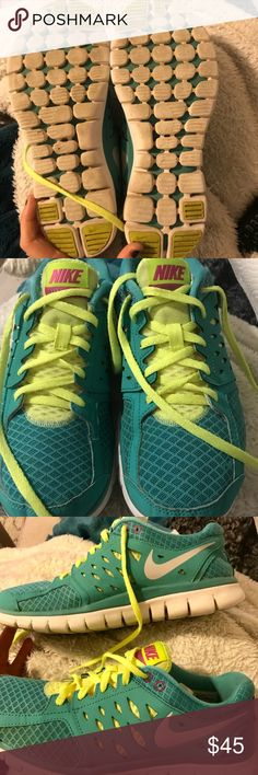 Nike Flex 2013 run Worn but in good condition! Great bright color combo Nike Shoes Sneakers