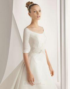 Fascinating A-line Off-the-shoulder Floor-length Satin White Wedding Dresses - $181.99 - Trendget.com