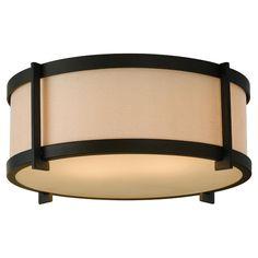 Two Light Oil Rubbed Bronze Cream Color Linen fabric Shade Drum Shade Flush Mount : 7V9RF   Norburn Lighting & Bath