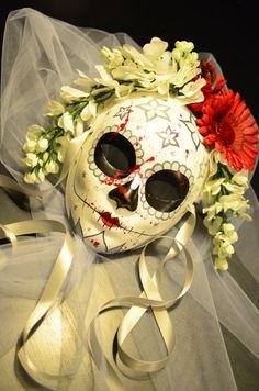 Blood Spatter Bride - Veil Bride Day of the Dead Mask - Spooky Bridal sugar Skull Flower Crown Dia De los Muertos Katrina Ready to ship