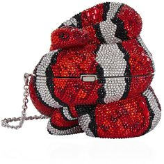 Judith Leiber Snake Clutch Bag ($6,700) ❤ liked on Polyvore featuring bags, handbags, clutches, evening handbags, locking purse, special occasion clutches, red clutches and red purse