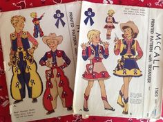 Vintage McCall Sewing Pattern Child's Cowgirl Cowboy Costume Western Outfit 1949 #McCall
