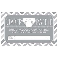 A free diaper raffle tickets printable and sign. This is perfect for a baby shower!