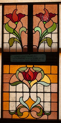 Turn-of-the-century Art Deco stained glass window, now in a museum in far western New South Wales, Australia.