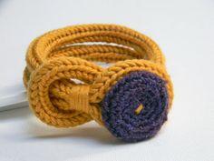 Mustard yellow and purple knitted wool yarn bracelet