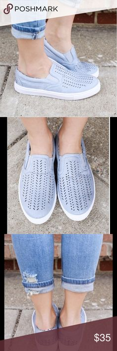 ASH BLUE SLIP ON SNEAKERS Ash Blue Slip On Sneakers  Cut Out Details  Distressed Faux Leather  Pretty Ash Blue Color Rubber Soles Great for Everyday!  Various Sizes Available   PRICE IS FINAL UNLESS BUNDLED NO TRADES Peach Couture Shoes Sneakers