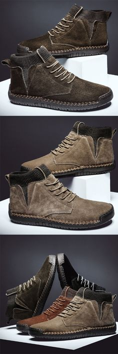 Men Suede Fabric Splicing Hand Stitching Non Slip Casual Boo.- Men Suede Fabric Splicing Hand Stitching Non Slip Casual Boots Men Suede Fabric Splicing Hand Stitching Non Slip Casual Boots - Brown Chukka Boots, Clarks Boots, Casual Boots, Men Casual, Stretch Stiefel, Mens Boots Online, Mens Fashion Shoes, Fashion Fashion, Shoes Men