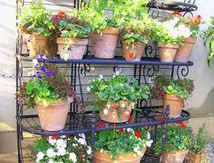 bakers rack in the garden - greenacres blog